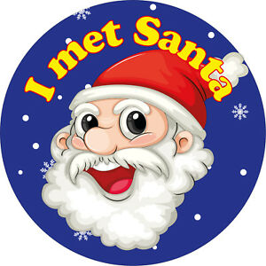 144 x 'I met Santa' Stickers Christmas xmas labels For Grotto Helpers Elves NAVY