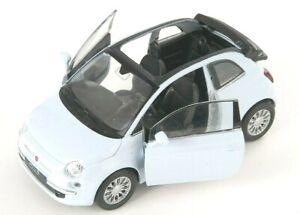 BLITZ VERSAND Fiat 500 C 2010 offen weiss white Welly Modell Auto 1:34 NEU & OVP