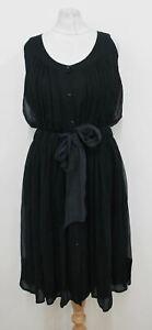 KENNETH COLE Ladies Navy Blue Silk Button Front Sleeveless Dress UK12 BNWT