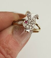 14ct Gold Playboy bunny cubic zirconia ring size M