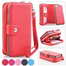 Zipper Premium Leather Wristlet Cash Clutch Bag Wallet Case For iPhone & Samsung