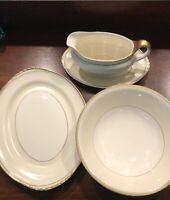3 Homer Laughlin (HLC) N1604 Serving Pieces Platter, Gravy Boat/underplate, Bowl