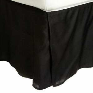 1000 TC Egyptian Cotton Box Pleat Bedskirt Bed Valance Black Solid