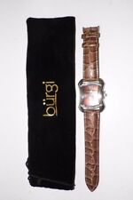 WOMAN'S BURGI BROWN LEATHER MOC CROC WATCH NEVER USED SILVERTONE