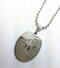 Chain inscribed w Serenity Prayer [Stst-17] Stainless Steel Dog Tag w ball