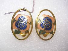 Cloisonne Victorian Rose Clip On Earrings Multi Colored Gold Plated New