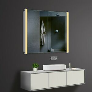 Design Aluminium LED Kalt Warm weiß licht Bad Wand Hänge spiegel schrank 80 x 70