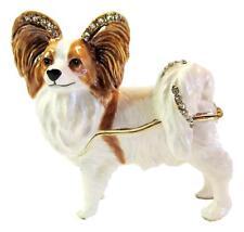Papillon - Jewelled Dog Trinket Box or Figurine Approx 7cm H x 6.5cm L