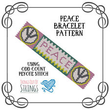 Peace Peyote Bracelet Pattern - Odd Count Peyote Stitch Chart