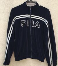 Fila Velour Zip Track Jacket Vintage 80s Blue White Boys Large