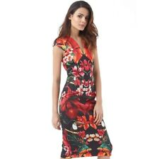 TED BAKER Tropical Toucan bird floral print midi bodycon dress wedding party 0 6