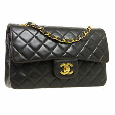 Black Leather CHANEL Quilted CC Dou