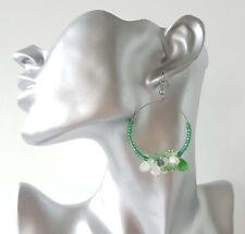 """1 pair of Pretty green & pearl colour beaded hoop drop earrings, 2"""" / 5cm"""