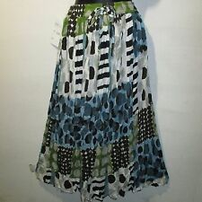 Skirt Fit S M L XL One Size Broomstick Blue Green Striped and Polka Dots NWT SS