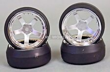 RC 1/10 DRIFT WHEELS Package 0 Degree 6MM Offset 6 Spoke SILVER W/ CHROME LIP