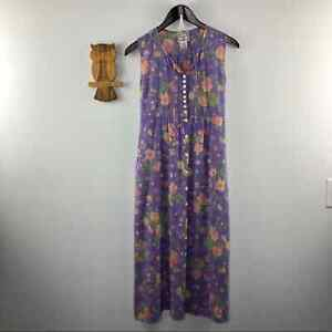 Vintage April Cornell floral lilac maxi dress