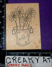 DAISIES IN A BUCKET RUBBER STAMP THE ARTFUL STAMPER