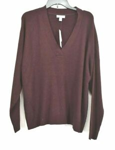 Topshop Womens Wool Blend Long Sleeve V-Neck Ribbed Sweater $68