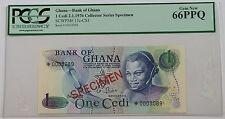 2.1.1976 Bank of Ghana 1 Cedi Specimen Note SCWPM# 13c-CS1 PCGS 66 PPQ Gem New