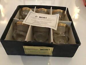 6 Murano Medici vintage Kristall Champagnergläser / Weingläser Goldrand Ätzdekor