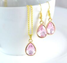 GOLD TONE TEAR DROP PINK FACETED CRYSTAL PARTY WEDDING PENDANT NECKLACE EARRINGS