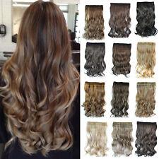 Damen Gewellt Gelockt Haar Clip In Extensions Tressen Haarverlängerung Lang Haar