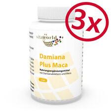 Vita World 3er Pack Damiana Blätter 500mg + Maca Pulver 100mg 3 x 120 Kapseln