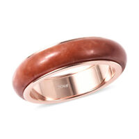 Rose Gold Over 925 Sterling Silver Red Jade Spinner Band Ring Size 9 Ct 12.5