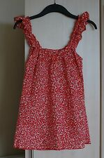 TOPSHOP 100% cotton white & red floral top with elasticated straps UK 6