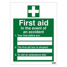 First Aid sign with space to add first aiders 150mm x 200mm  Self Adhesive