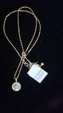 """Lia Sophia Wisp 16-19"""" necklace mother-of-pearl &   crystal matte gold-tone NWT"""