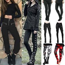 Women Gothic Steam Punk Leggings Vintage Rock High Waist Skinny Pants Trousers