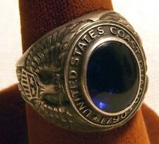 WWII USCG Sterling Ring with Blue Stone and Excellent Details