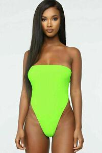 Women's Sleeveless Ladies Boob Tube Neon Green Bandeau Bodysuit Leotard Top New