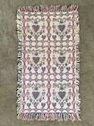 "Vintage Hayim Company Cotton Hand Woven Katie Rug W/ Fringe India 22x40"" Hearts"