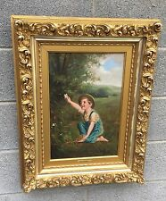 19th C. OIL ON CANVAS PAINTING IN ORNATE GOLD FRAME, SIGNED BERTEAUX
