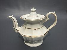 Antique white ceramic  ironstone coffee pot, 1840's 1850's