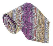 Missoni U4918 Fuschia/Gold Flame Stitch 100% Silk Tie