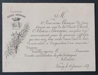Carte de visite CHORALE ALSACE LORRAINE NANCY 1887 visit card