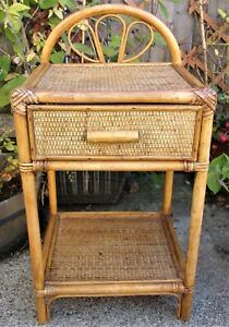Vintage Bamboo Wicker Table ~1960s 70s Retro Side End Plant Bedside Peacock Loop