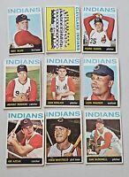 Lot of 9 1964 Topps CLEVELAND INDIANS vintage baseball cards Sam McDOWELL