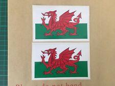 X2 Wales Welsh Cymru Flags Vinyl Sticker Decal Exterior Grade 110x65mm