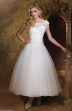 Formal Short Tea Length Lace White/Ivory Wedding Dress Party Ball Gown Size 6-18