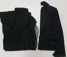 St. John Evening Pant Suit Set Black Jacket 8 Pants 10 Silk