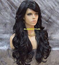 Human Hair Blend Long Wavy Layered With Bangs Off Black Full Wig #1B NWT