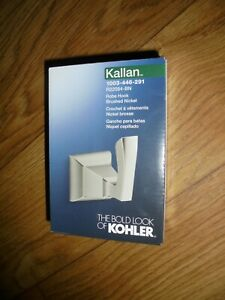 New Kohler~Kallan Wall Mount Robe Hook~In Brushed Nickel