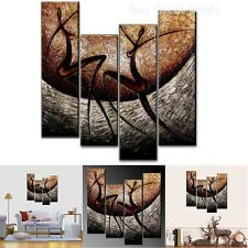 4-Piece African Dancers Hand-Painted Canvas Stretched and Framed Wall Art Decor