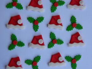 24 edible CHRISTMAS MINI HOLLY & SANTA HAT cupcake cake topper decoration XMAS