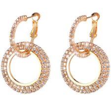 Chic Luxury Round Earrings Women Crystal Geometric Hoop Earrings Jewelry Xmas M