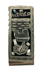 Vintage Alpaca Silver Mexico Abalone Shell Black Onyx Inlay Money Clip